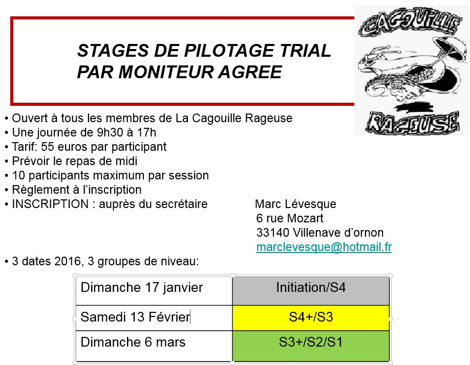 Stages Pilotages 2016